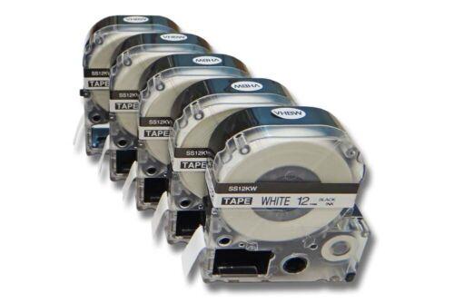 5x VHBW SCHRIFTBAND KASSETTE 12mm SCHWARZ-WEIß für EPSON LabelWorks LW-600P