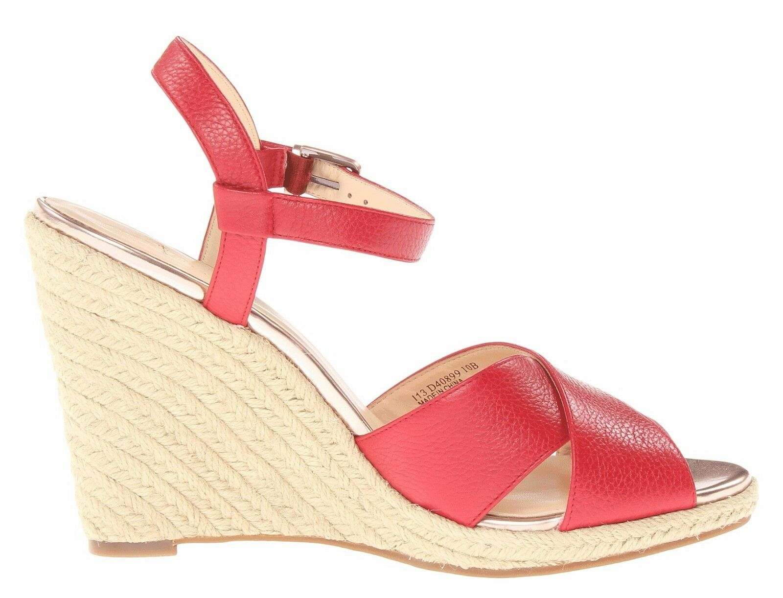 Cole Haan HART Wedge Wedge Wedge Leather Criss Cross Straps Sandal Tango Red 7.5 New 096383