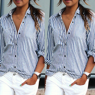 Sexy Women Long Sleeve Lapel Striped Loose Casual Clubwear Shirt Tops Blouse Top
