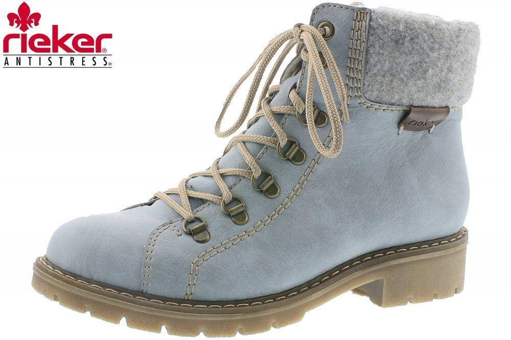 Rieker Damen Winter Schuhe Hellblau Schuhe Y9142-10