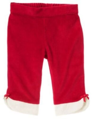 GYMBOREE GINGERBREAD GIRL RED FUR HEM VELOUR PANTS 3 6 12 18 NWT