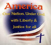 Patriotic Religious T-shirt Jesus Flag Usa America God Size Small White Tee