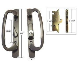 Patio Door Handle Set with Mortise Lock, Bronze, Keyed, 3-15/16 ...