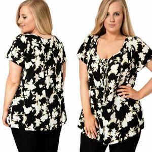 Ladies-Plus-Size-Black-White-Floral-Blouse-Pretty-Vine-Pattern-Tunic-Xmas-Party