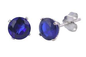 Sapphire-Round-CZ-September-Birthstone-Stud-Earrings-Sterling-Silver-BASKET-Set