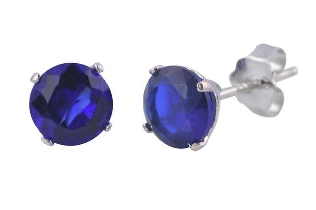 Sapphire Round CZ September Birthstone Stud Earrings Sterling Silver BASKET Set