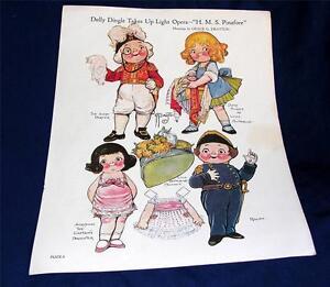 Karte Lager Wwi Illus Antiquitäten & Kunst Kreativ Vtg Grace Drayton Dolly Dingle Lg Folie Papier