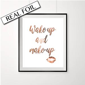 wakeup and makeup print copper foil print makeup artist beauty