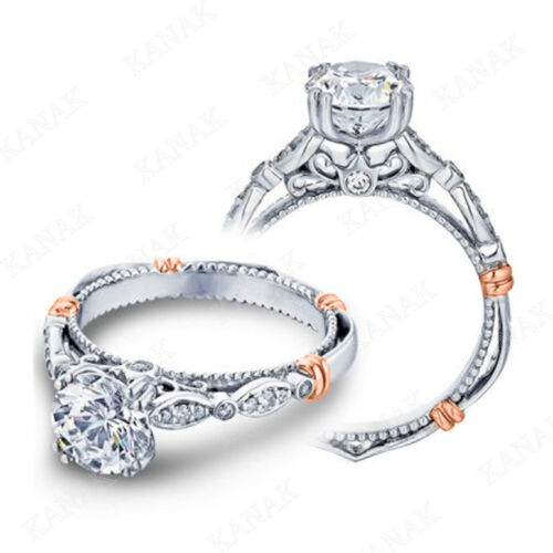 1.15 Ct Round Cut Simulated Diamond Vintage Engagement Ring in 10k White Gold
