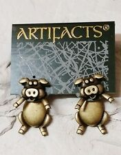 Vintage JJ Artifacts Brass Pig Earrings-2 Piece Posts-NOS-Super Cute