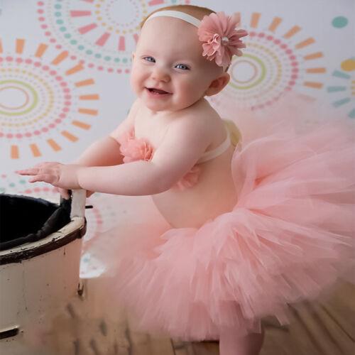 Baby Mädchen Pettiskirt Tütü Rock mit Stirnband Blumen Top Fotoshooting Kostüm