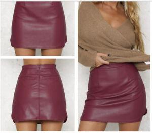Burgundy-PU-Leather-Pencilskirt-Bodycon-High-Waist-Club-Party-Mini-Skirt-Bottom