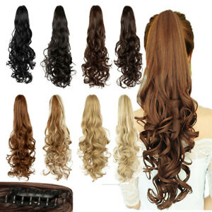 PONYTAIL-Claw-Clip-In-Hair-Extensions-Thick-Long-Wavy-Curly-Pony-Tail-As-Human