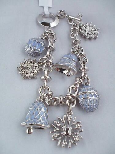 NWT ST JOHN Knits Silver Tone /& Light Blue Enamel Charm Holiday Bracelet