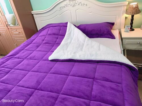Christmas Sourced 3-Layer Sherpa 3-Piece Violet Purple Queen Size Comforter Set