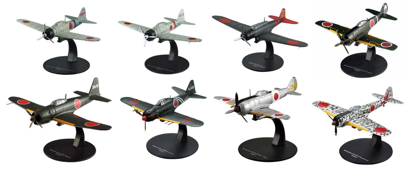 Set of 8 Japan Aircrafts WW2 Mitsubishi 1 72 Military plane diecast DeAgostini