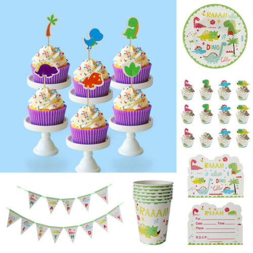Disposable Dinosaur Theme Baby Shower Tableware Set Home Birthday Party Supplies