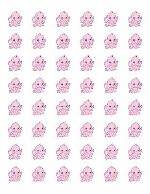 """48 BABY PINK ELEPHANT ENVELOPE SEALS LABELS STICKERS 1.2/"""" ROUND"""