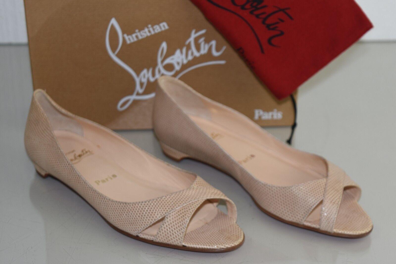 NEW Christian Louboutin UN VOILIER Flats Peep Toe Taupe Beige LIZARD shoes 40