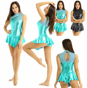 Women Girls Shiny Metallic Skating Ballet Dance Dress Gymnastics Leotard Costume