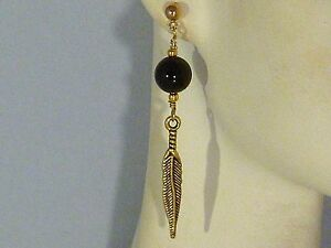 Image Is Loading Gemstone Earrings Black Onyx Feather Gold Plated Tribal