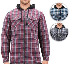 Tony-Hawk-Men-039-s-Casual-Flannel-Zip-Up-Plaid-Sherpa-Hoodie-Lightweight-Jacket
