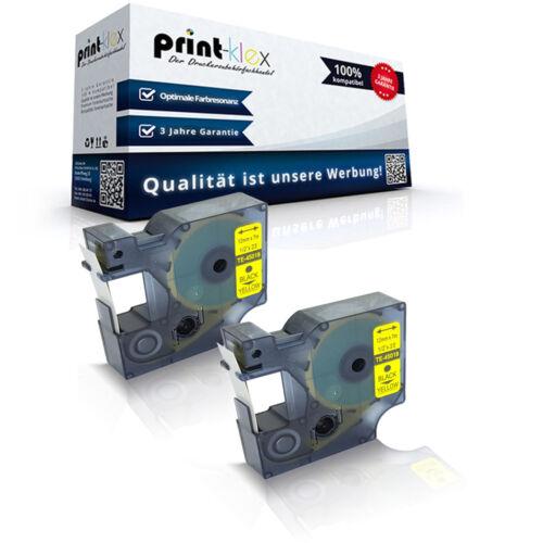 Easy Print Serie 2x Premium Schriftbänder für Dymo 45018 Schwarz auf Gelb 12mm