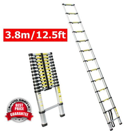 12.5Ft Aluminio Plegable Escalera Con Pie Almohadilla Extension Retractil Nuevo