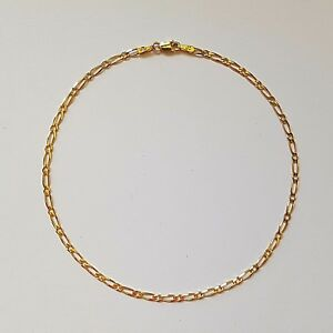 NEW-Genuine-9ct-9k-Yellow-Solid-Gold-Bevelled-Diamond-Cut-Figaro-1-1-Anklet