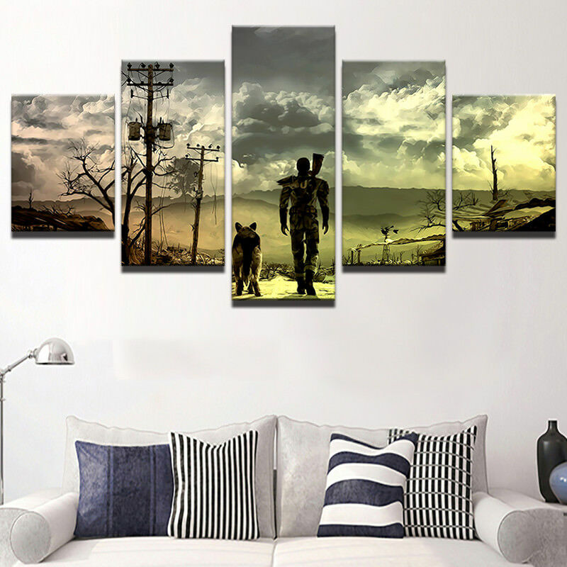 Fallout 3 Painting 5 Panel Canvas Print Wall Art Poster Home Decor