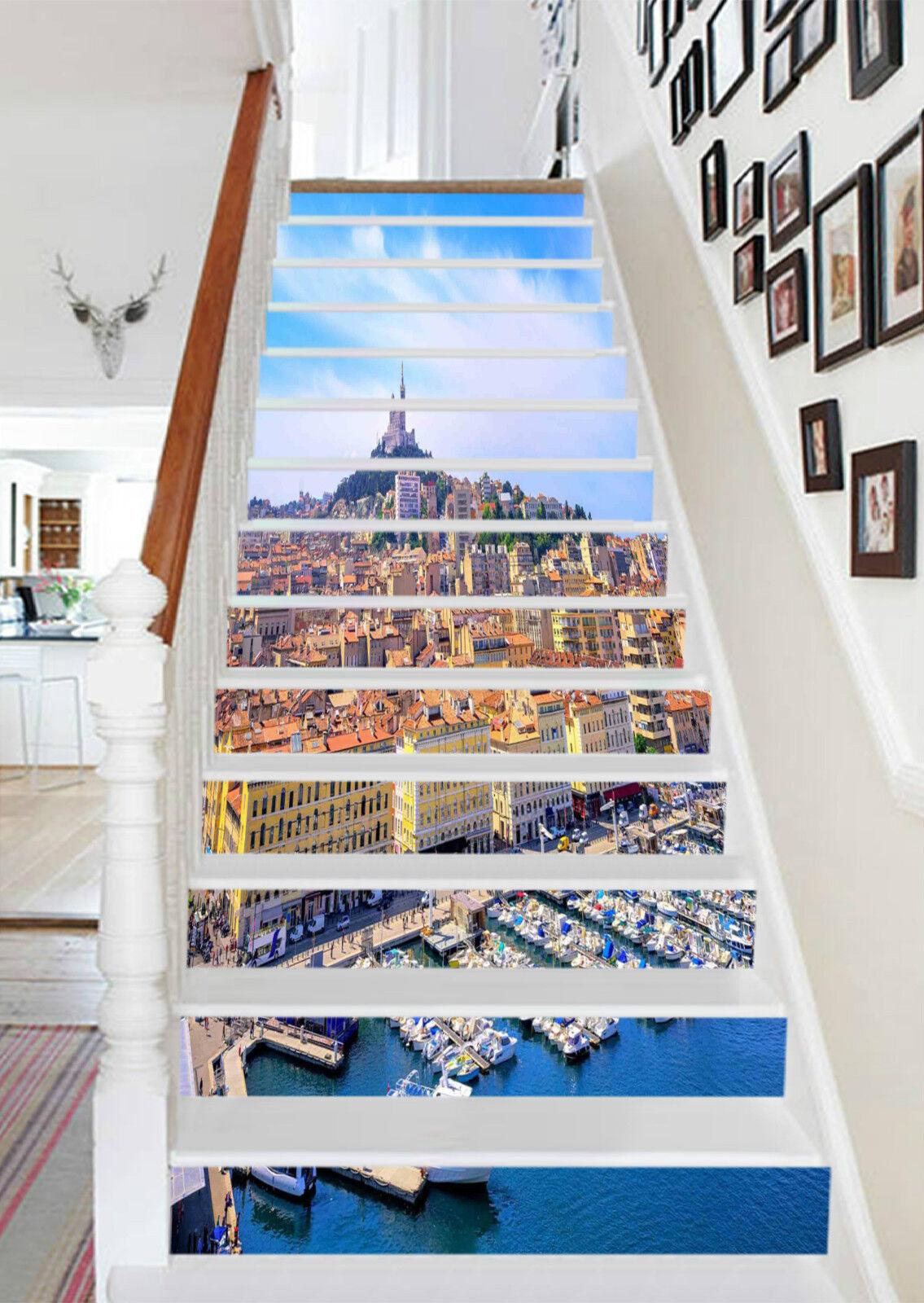 3D Stadt Meer 125 Stair Risers Dekoration Fototapete Vinyl Aufkleber Tapete DE