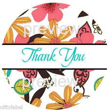 Flower Power Design 4 Thank You Sticker Labels Laser Printed