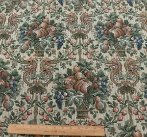 Antique-c1900-French-Cotton-Jacquard-Tapestry-Sample-Fabric-Fruit-amp-Basket-26X31