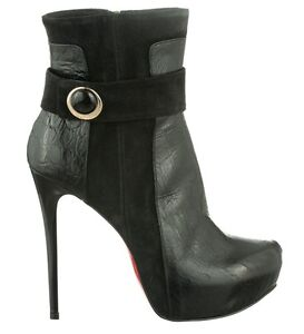 MORI-MADE-ITALY-ANKLE-BOOTS-STIEFEL-STIVALI-SHOES-KROCO-LEATHER-BLACK-NERO-44