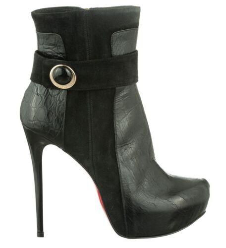 Mori Bottines 44 Cuir Stivali Nero Italy Kroco Noir Chaussures Stiefel Made addwqAT