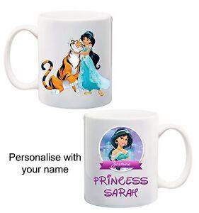 3 Disney Princess Jasmine Aladdin Personalised Customised name mug cup kids