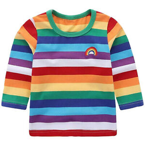Toddler-Children-Baby-Girl-Boy-Rainbow-T-shirt-Tops-Kids-Striped-Outfits-Clothes