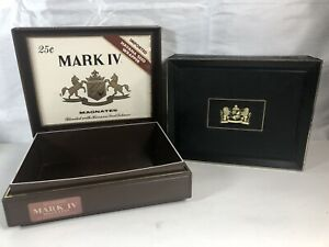 Two-Mark-IV-Magnates-Plastic-Cigar-Boxes-Hinged-Lid-25-CENTS-Black-amp-Brown