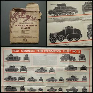 WWII-News-Chronicle-Tank-Recognition-Poster-Set-of-4-Allied-and-Axis-Forces