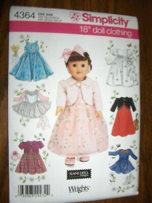 "18"" Doll NEW Simplicity 4364 Heigl Pattern Dresses Leotard Fits American Girl"