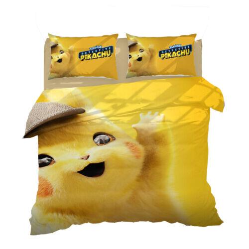 Detective Pikachu Design Bedding Sets 2PC//3PC Of Duvet Cover /& Pillowcase 2019