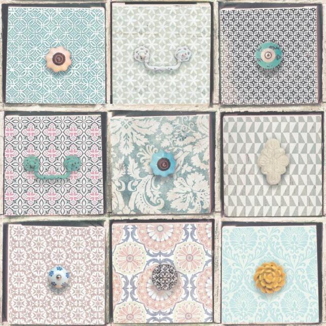 Rasch Realistic Box Pattern Wallpaper Floral Moroccan Motif Faux Effect 281804