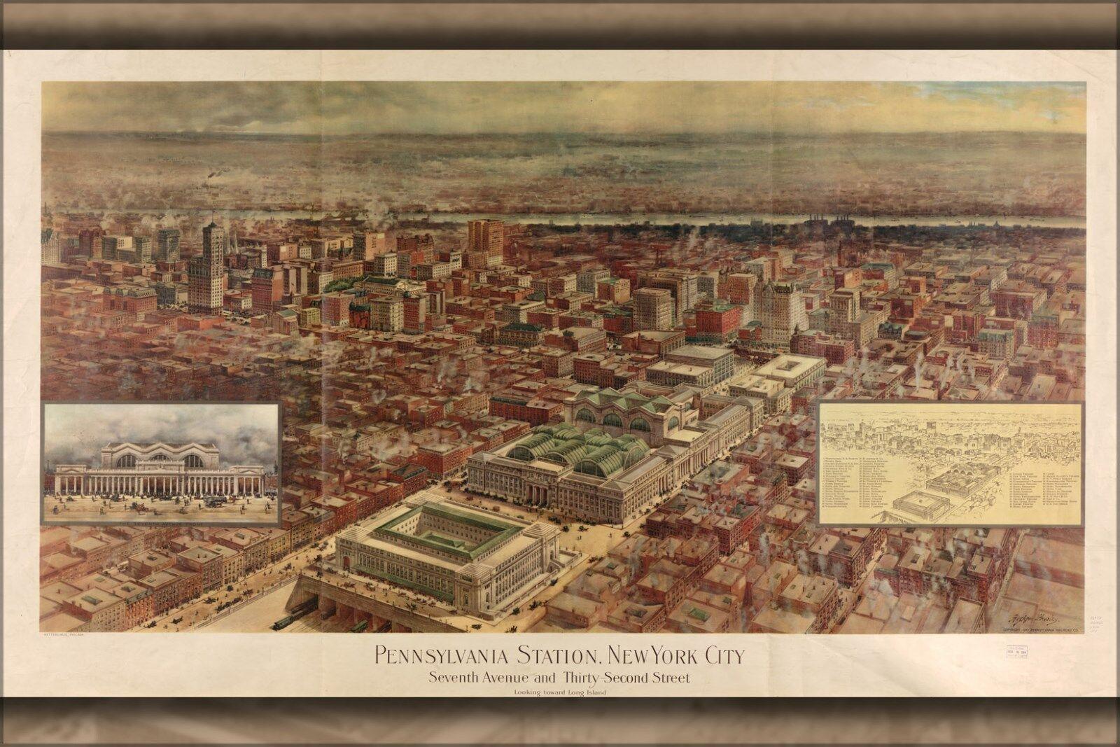 Poster, Many Größes; Map Of Penn Station, New York City 1910