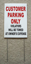 Customer Parking Only 8x12 Plastic Coroplast Sign Withslide In Stake