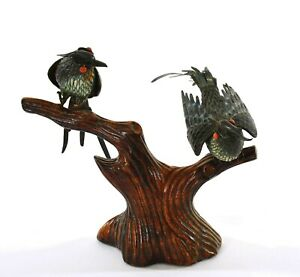 Chinese Solid Silver Enamel 2 Bird Coral Bead Eyes Wood Carved Carving Stand