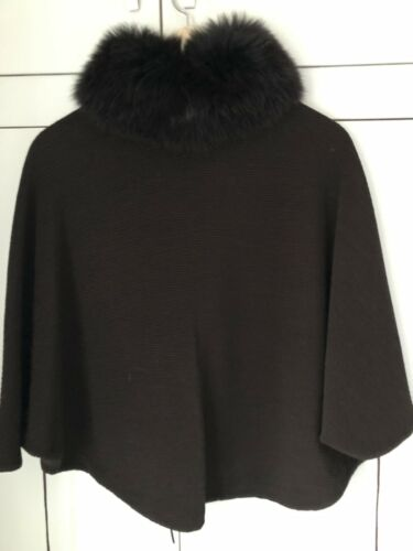 Women's Poncho Fox 100 wool Collar Vakko uk10 Fur 12 bnwot vqBdYBw