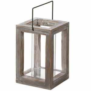 Rustic Weathered Wood Garden Pillar Candle Lantern Use Indoors Or Outdoors