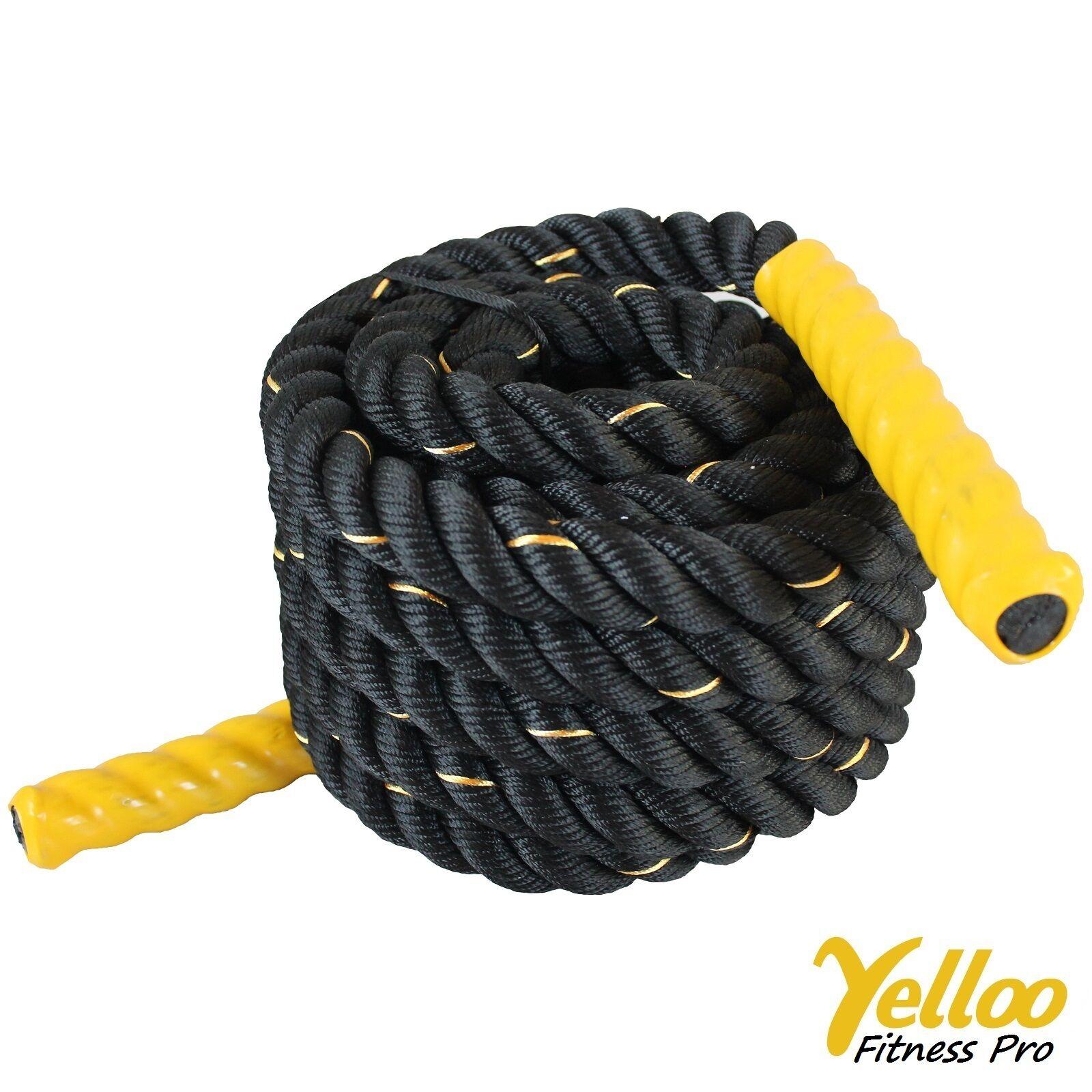 Corde Fitness Entraînement Power Crossfit Battle 9 Mètres X 38 mm jaune