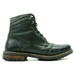 Buckle-x-Crevo-Cayson-Mens-Black-Leather-Zip-Lace-Up-Mid-Boots-Size-US-9-EU-42