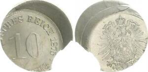 Empire 10 Pfennig 1875 Lack Coinage 25% Dezentriert Xf-Bu